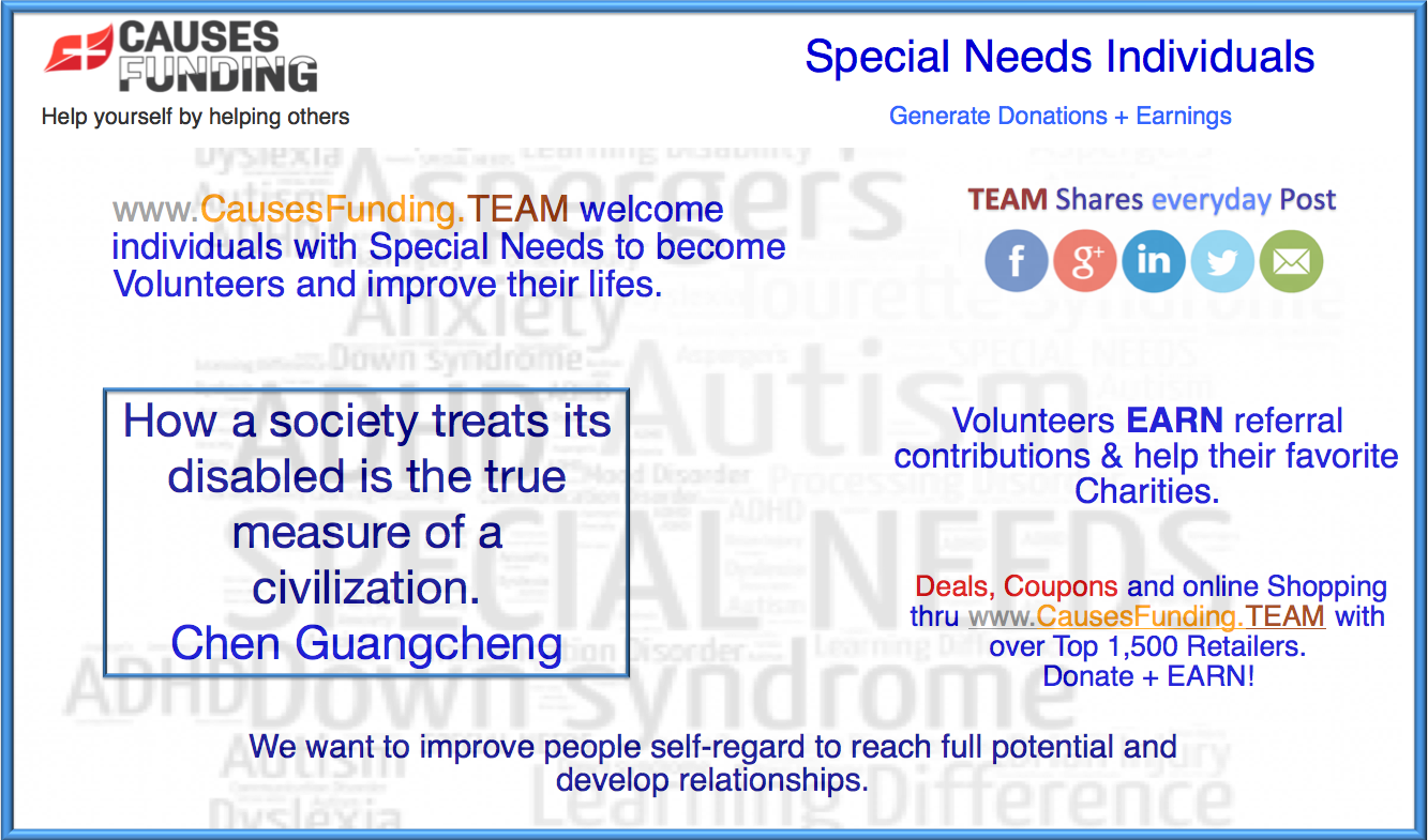 Special Needs Individuals - CausesFunding.TEAM