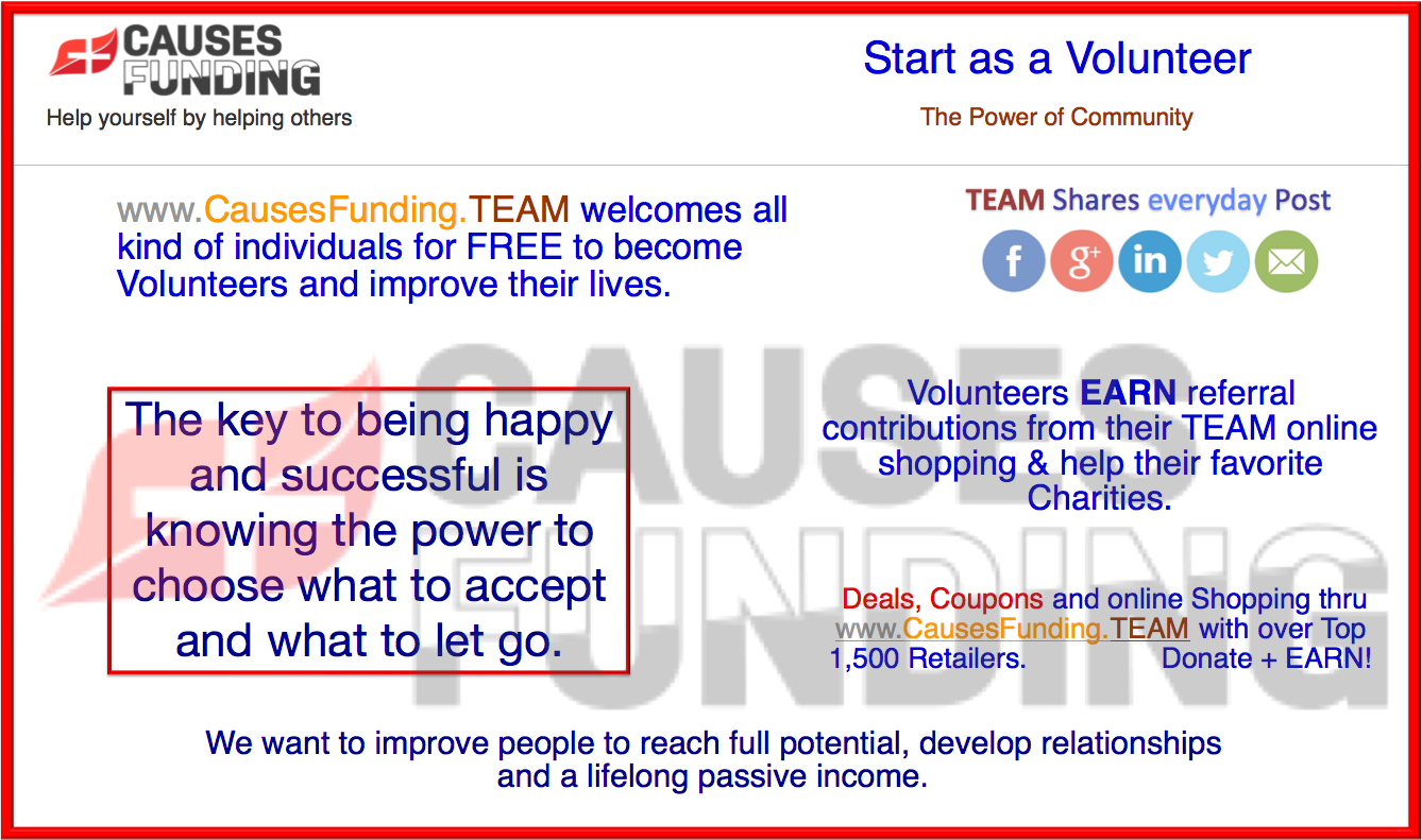 Start as a Volunteer - www.CausesFunding.TEAM